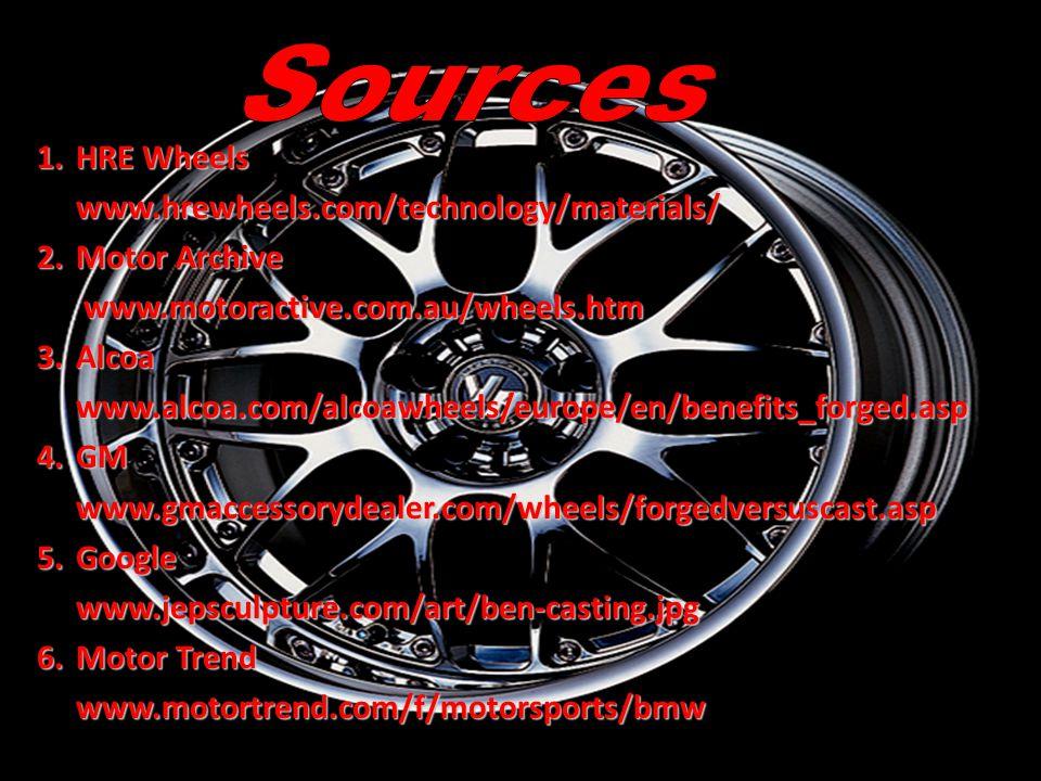 1.HRE Wheels www.hrewheels.com/technology/materials/ 2.Motor Archive www.motoractive.com.au/wheels.htm www.motoractive.com.au/wheels.htm 3.Alcoa www.alcoa.com/alcoawheels/europe/en/benefits_forged.asp 4.GM www.gmaccessorydealer.com/wheels/forgedversuscast.asp 5.Google www.jepsculpture.com/art/ben-casting.jpg 6.Motor Trend www.motortrend.com/f/motorsports/bmw