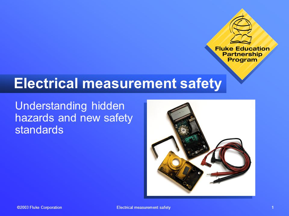 ©2003 Fluke Corporation Electrical measurement safety 12 Check test lead resistance: Step 1: Insert leads in V/  and COM inputs.
