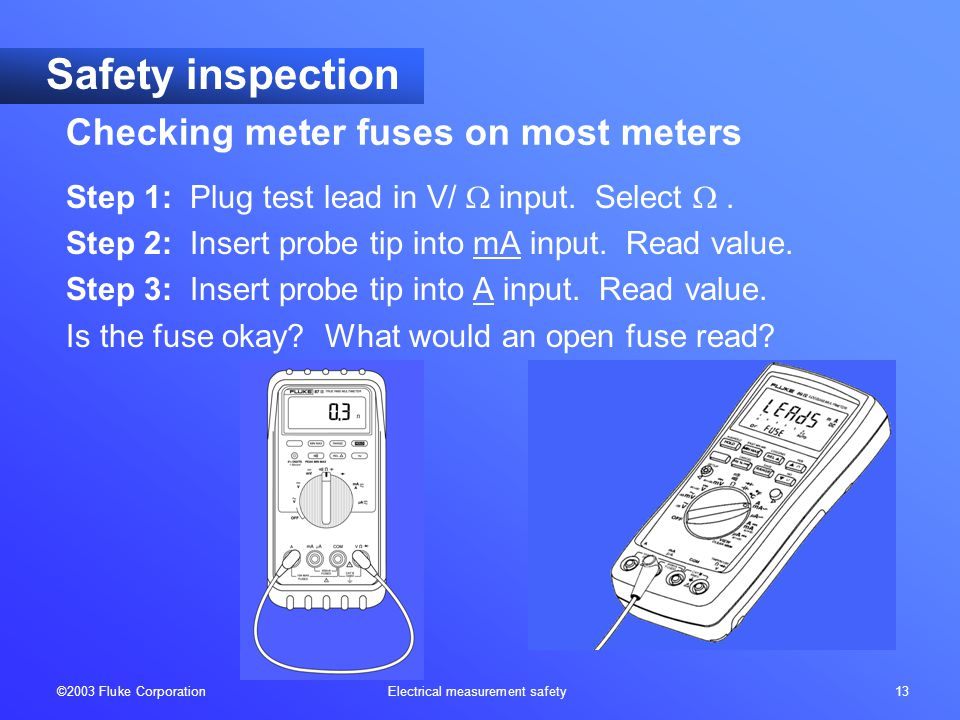 ©2003 Fluke Corporation Electrical measurement safety 13 Safety inspection Step 1: Plug test lead in V/  input.