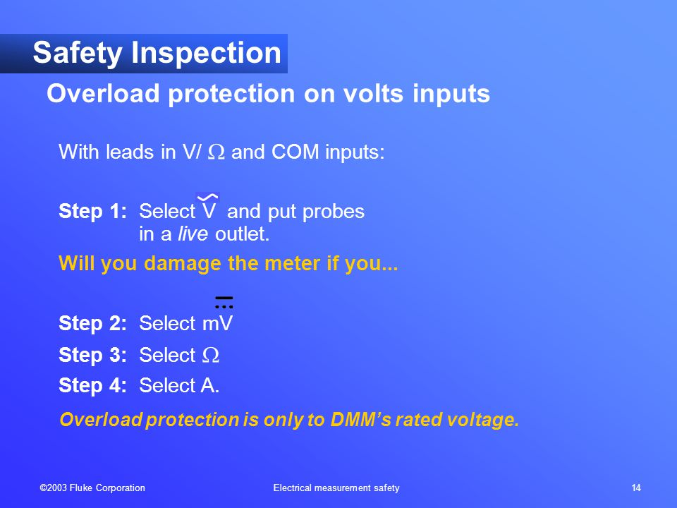 ©2003 Fluke Corporation Electrical measurement safety 14 With leads in V/  and COM inputs: Step 1: Select V and put probes in a live outlet. Will you