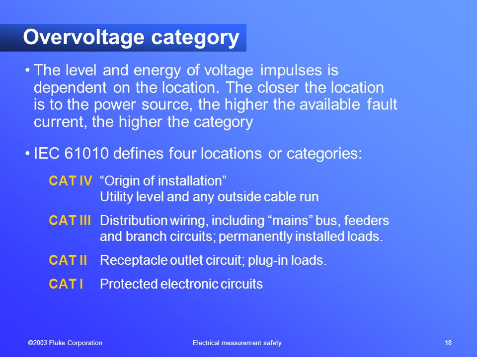 ©2003 Fluke Corporation Electrical measurement safety 18 Overvoltage category The level and energy of voltage impulses is dependent on the location.