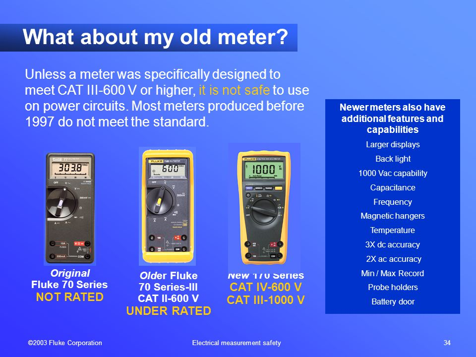 ©2003 Fluke Corporation Electrical measurement safety 34 Unless a meter was specifically designed to meet CAT III-600 V or higher, it is not safe to u