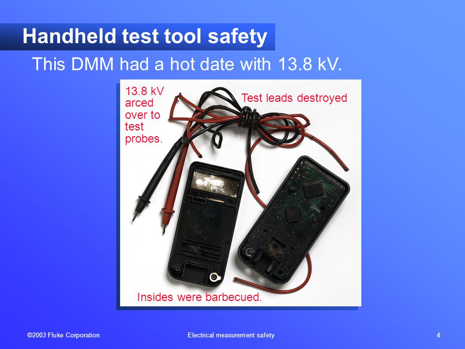 ©2003 Fluke Corporation Electrical measurement safety 5 Handheld test tool safety Probe tips burned off 250V fuse didn't open in time The wrong meter to use on a power circuit.