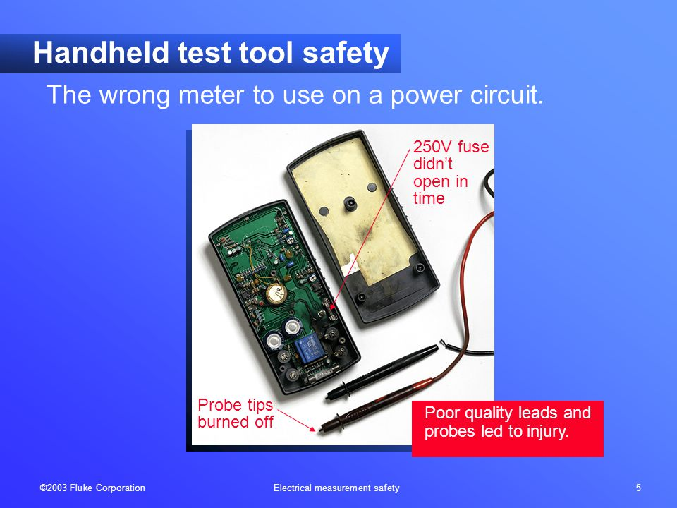 ©2003 Fluke Corporation Electrical measurement safety 16 International Electrotechnical Commission IEC 61010 is the new standard for low voltage test, measurement and control equipment .