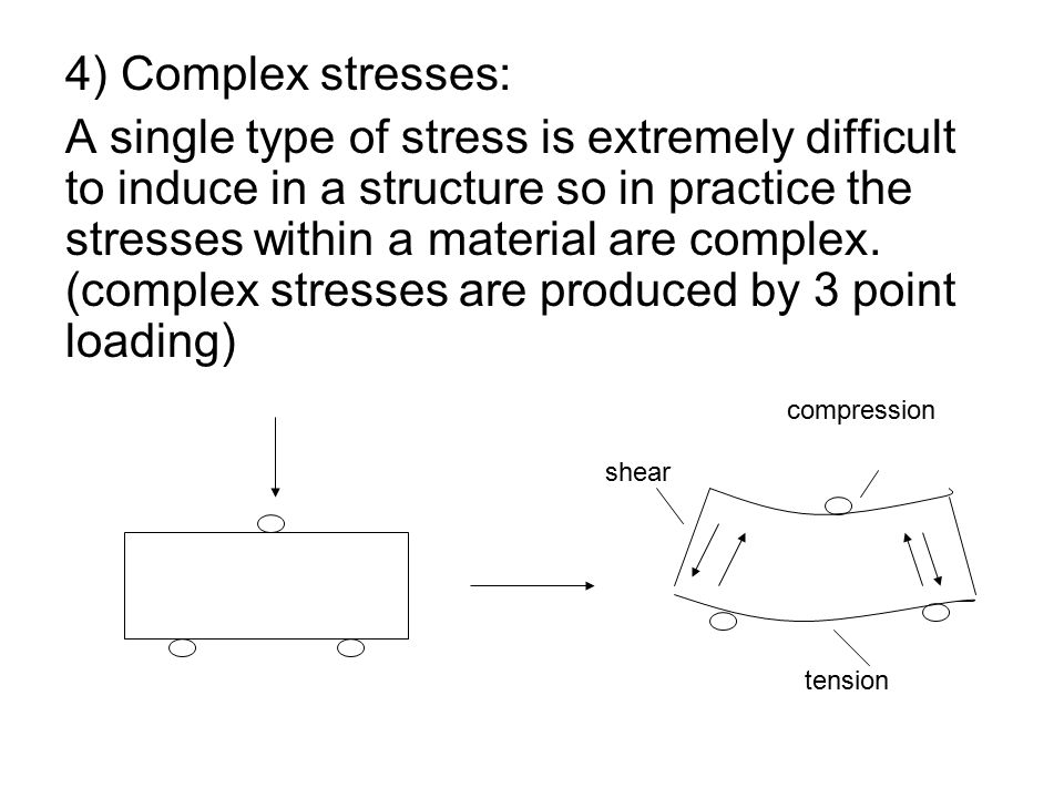 4) Complex stresses: A single type of stress is extremely difficult to induce in a structure so in practice the stresses within a material are complex