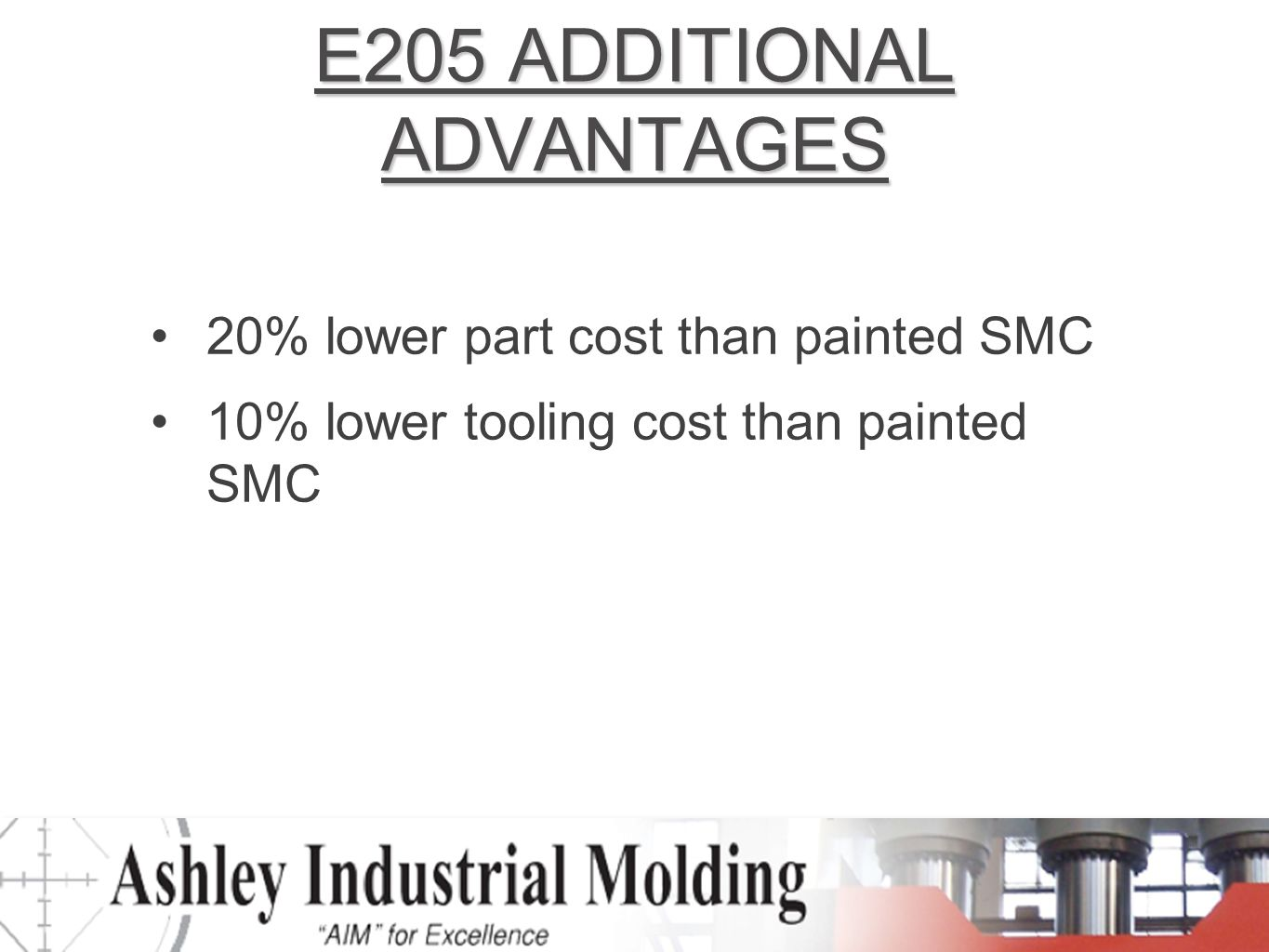 E205 ADDITIONAL ADVANTAGES 20% lower part cost than painted SMC 10% lower tooling cost than painted SMC