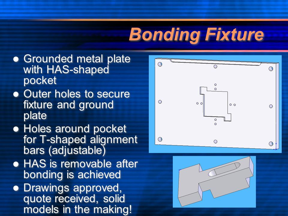 Bonding Fixture Grounded metal plate with HAS-shaped pocket Outer holes to secure fixture and ground plate Holes around pocket for T-shaped alignment bars (adjustable) HAS is removable after bonding is achieved Drawings approved, quote received, solid models in the making.