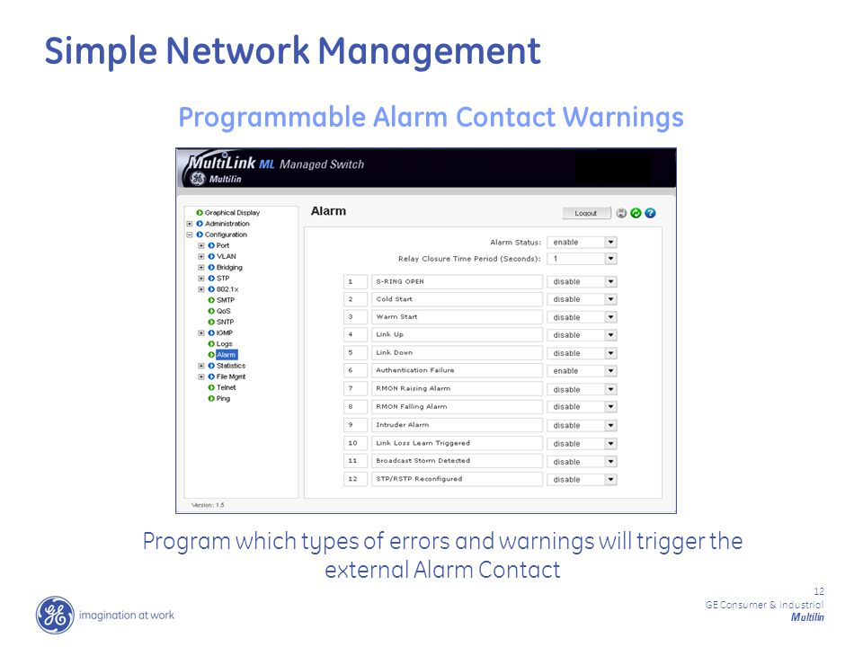 12 GE Consumer & Industrial Multilin Programmable Alarm Contact Warnings Program which types of errors and warnings will trigger the external Alarm Contact Simple Network Management