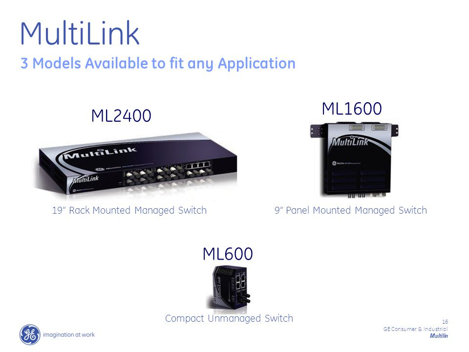 16 GE Consumer & Industrial Multilin 3 Models Available to fit any Application ML2400 ML1600 ML600 19 Rack Mounted Managed Switch9 Panel Mounted Managed Switch Compact Unmanaged Switch MultiLink
