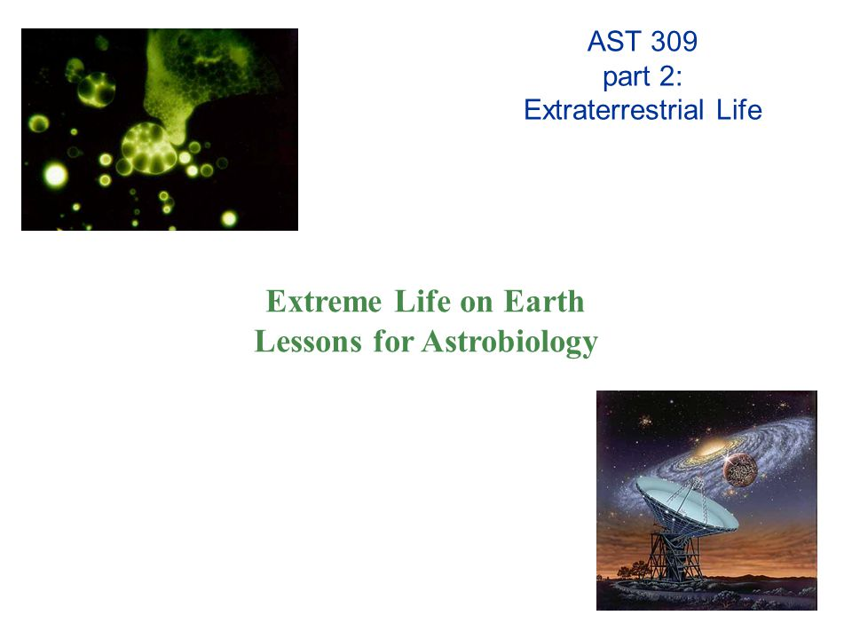 AST 309 part 2: Extraterrestrial Life Extreme Life on Earth Lessons for Astrobiology