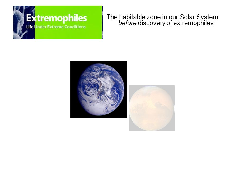 The habitable zone in our Solar System before discovery of extremophiles: