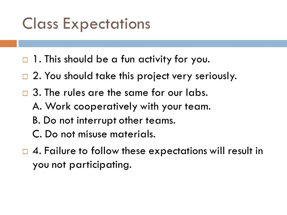 Class Expectations  1. This should be a fun activity for you.