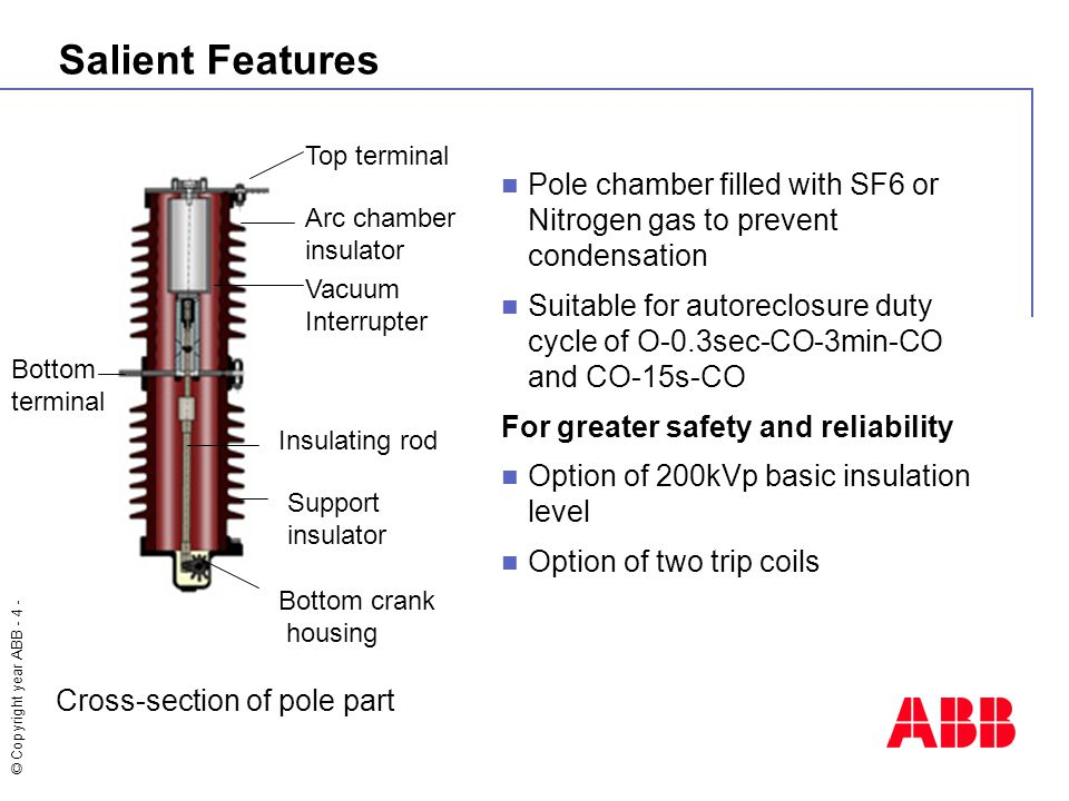 © Copyright year ABB - 4 - Salient Features Pole chamber filled with SF6 or Nitrogen gas to prevent condensation Suitable for autoreclosure duty cycle of O-0.3sec-CO-3min-CO and CO-15s-CO For greater safety and reliability Option of 200kVp basic insulation level Option of two trip coils Cross-section of pole part Top terminal Arc chamber insulator Vacuum Interrupter Bottom terminal Insulating rod Support insulator Bottom crank housing