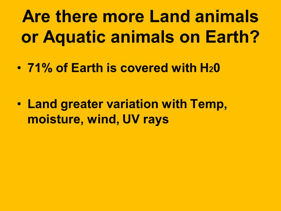 Are there more Land animals or Aquatic animals on Earth.