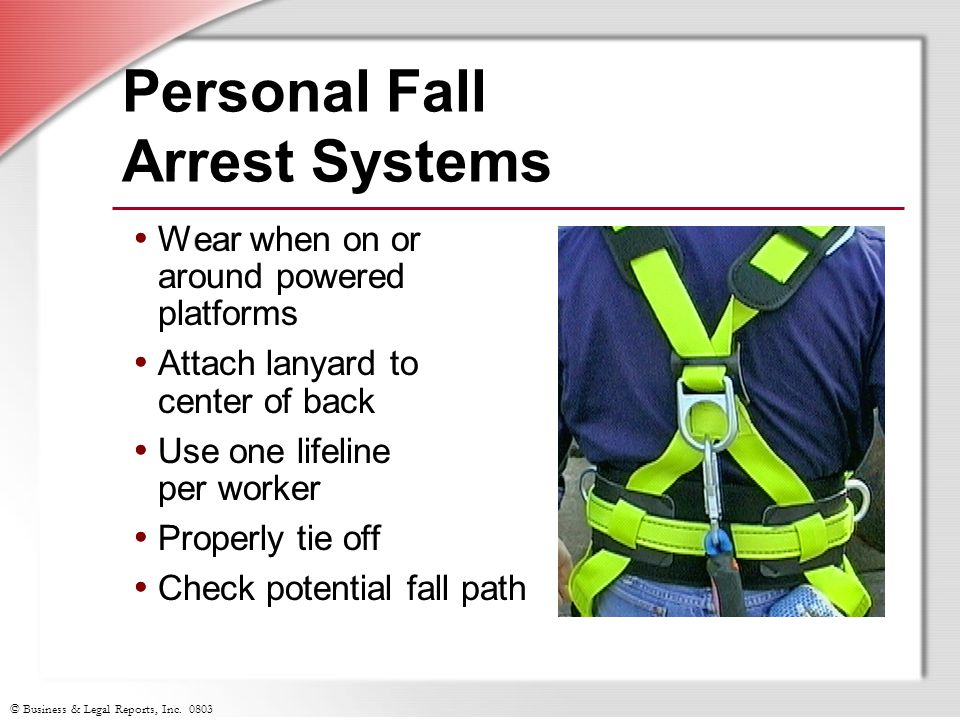 © Business & Legal Reports, Inc. 0803 Wear when on or around powered platforms Attach lanyard to center of back Use one lifeline per worker Properly t