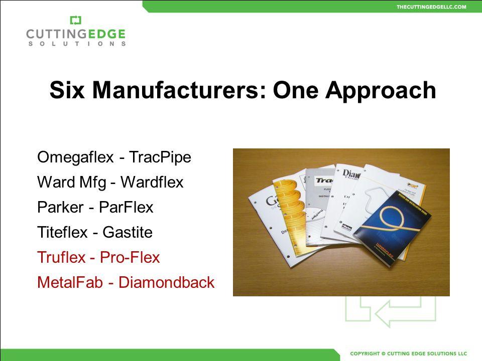 Omegaflex - TracPipe Ward Mfg - Wardflex Parker - ParFlex Titeflex - Gastite Truflex - Pro-Flex MetalFab - Diamondback Six Manufacturers: One Approach