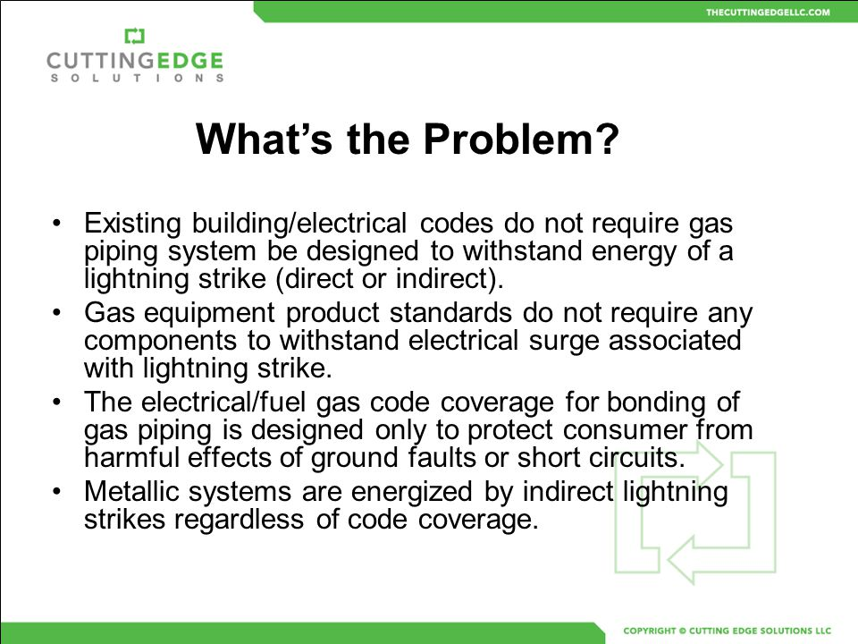 Existing building/electrical codes do not require gas piping system be designed to withstand energy of a lightning strike (direct or indirect). Gas eq