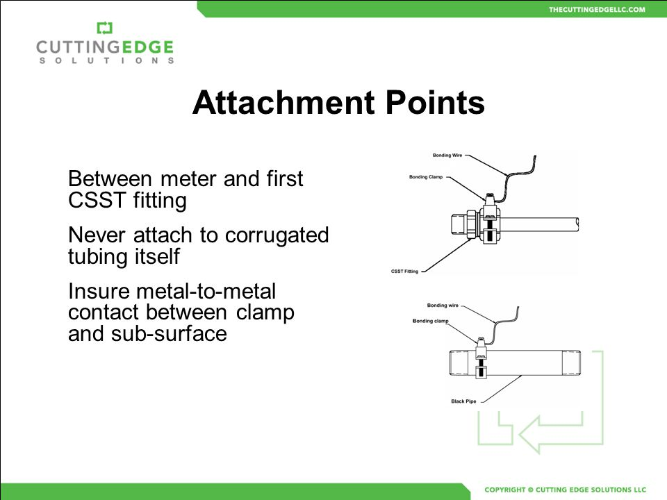Attachment Points Between meter and first CSST fitting Never attach to corrugated tubing itself Insure metal-to-metal contact between clamp and sub-su