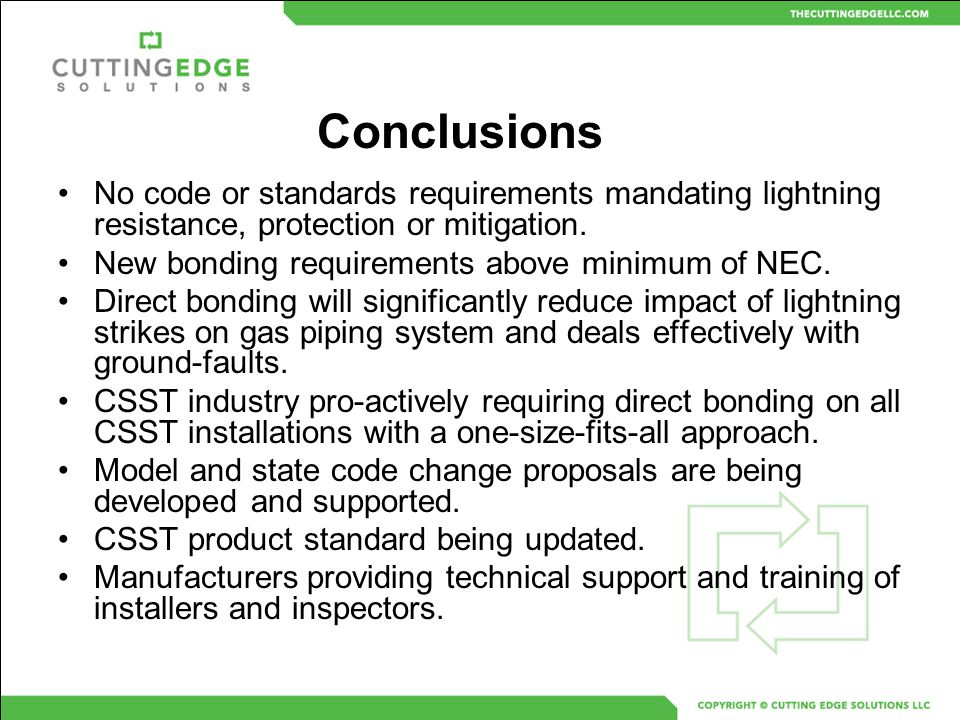 No code or standards requirements mandating lightning resistance, protection or mitigation. New bonding requirements above minimum of NEC. Direct bond