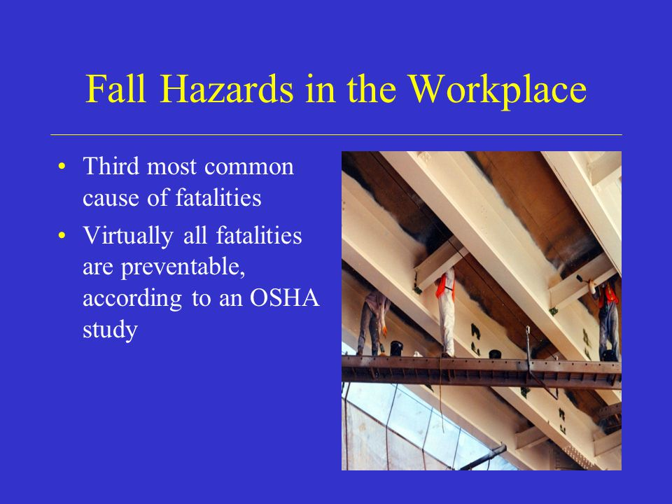 Fall Hazards in the Workplace Third most common cause of fatalities Virtually all fatalities are preventable, according to an OSHA study