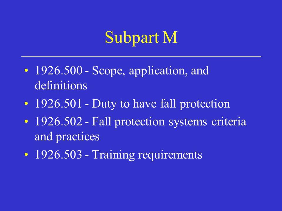Subpart M Appendices Appendix A – Determining Roof Widths Appendix B – Guardrail Systems Appendix C – Personal Fall Arrest Appendix D – Positioning Devices Appendix E – Sample Fall Protection Plan