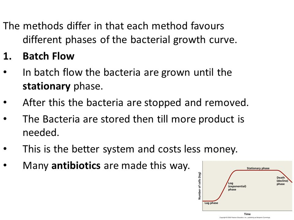 The methods differ in that each method favours different phases of the bacterial growth curve. 1.Batch Flow In batch flow the bacteria are grown until