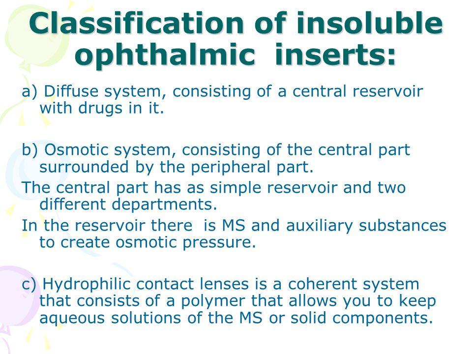 Classification of insoluble ophthalmic inserts: a) Diffuse system, consisting of a central reservoir with drugs in it.