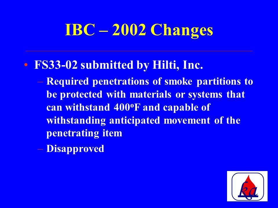 ICC Consolidation of the three organizations into one organization 2003 Edition of the International Codes available –ICC Performance Code –International Existing Buildings Code