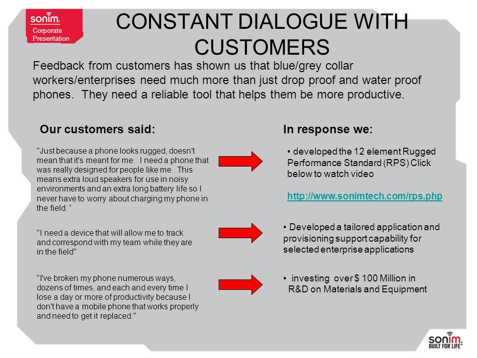 Corporate Presentation CONSTANT DIALOGUE WITH CUSTOMERS Our customers said:In response we: investing over $ 100 Million in R&D on Materials and Equipment Feedback from customers has shown us that blue/grey collar workers/enterprises need much more than just drop proof and water proof phones.