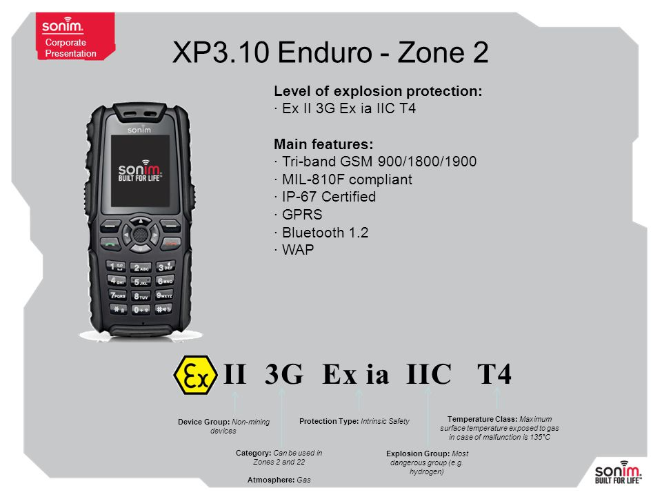 Corporate Presentation XP3.10 Enduro - Zone 2 Level of explosion protection: · Ex II 3G Ex ia IIC T4 Main features: · Tri-band GSM 900/1800/1900 · MIL-810F compliant · IP-67 Certified · GPRS · Bluetooth 1.2 · WAP Ex II3GEx iaIICT4 Device Group: Non-mining devices Category: Can be used in Zones 2 and 22 Atmosphere: Gas Protection Type: Intrinsic Safety Explosion Group: Most dangerous group (e.g.