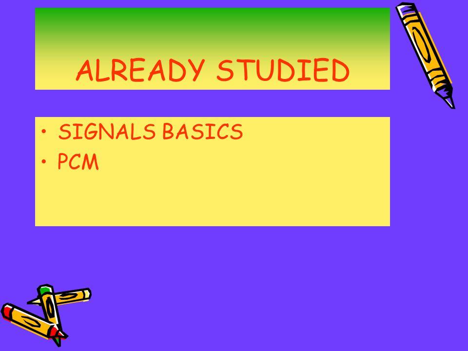 ALREADY STUDIED SIGNALS BASICS PCM