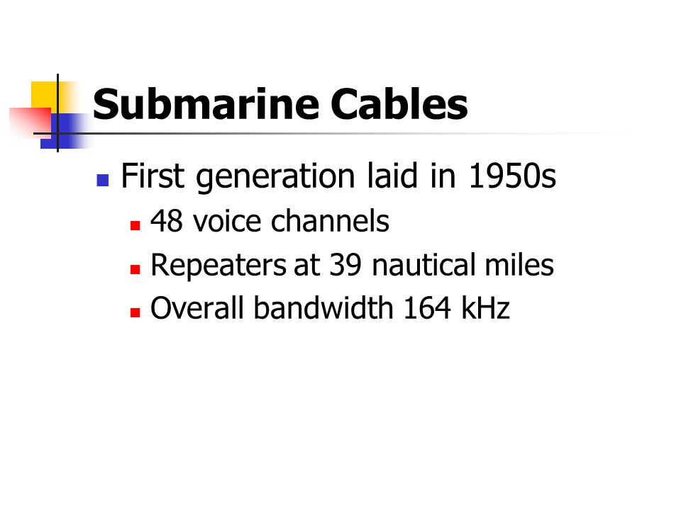 Submarine Cables First generation laid in 1950s 48 voice channels Repeaters at 39 nautical miles Overall bandwidth 164 kHz
