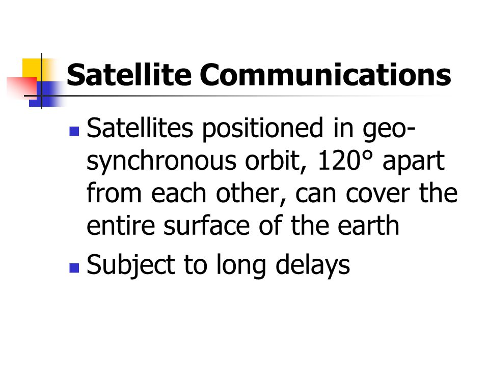 Satellite Communications Satellites positioned in geo- synchronous orbit, 120° apart from each other, can cover the entire surface of the earth Subject to long delays