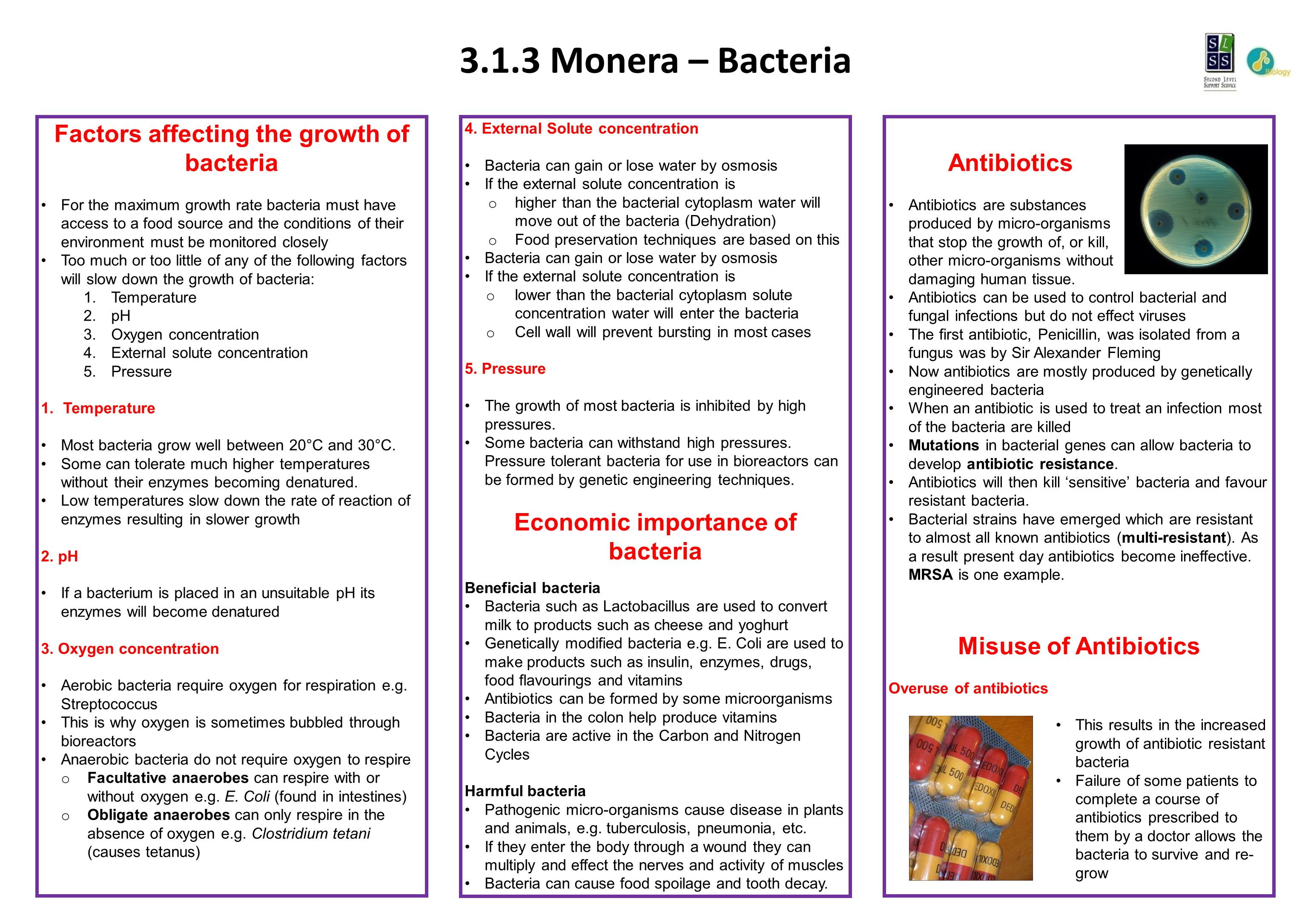 3.1.3 Monera – Bacteria 4. External Solute concentration Bacteria can gain or lose water by osmosis If the external solute concentration is o higher t