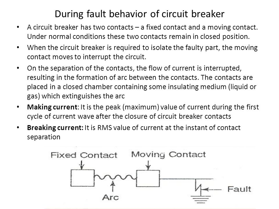 During fault behavior of circuit breaker A circuit breaker has two contacts – a fixed contact and a moving contact.