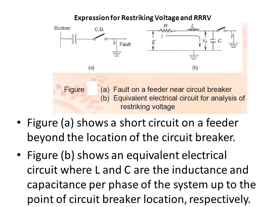 Expression for Restriking Voltage and RRRV Figure (a) shows a short circuit on a feeder beyond the location of the circuit breaker.