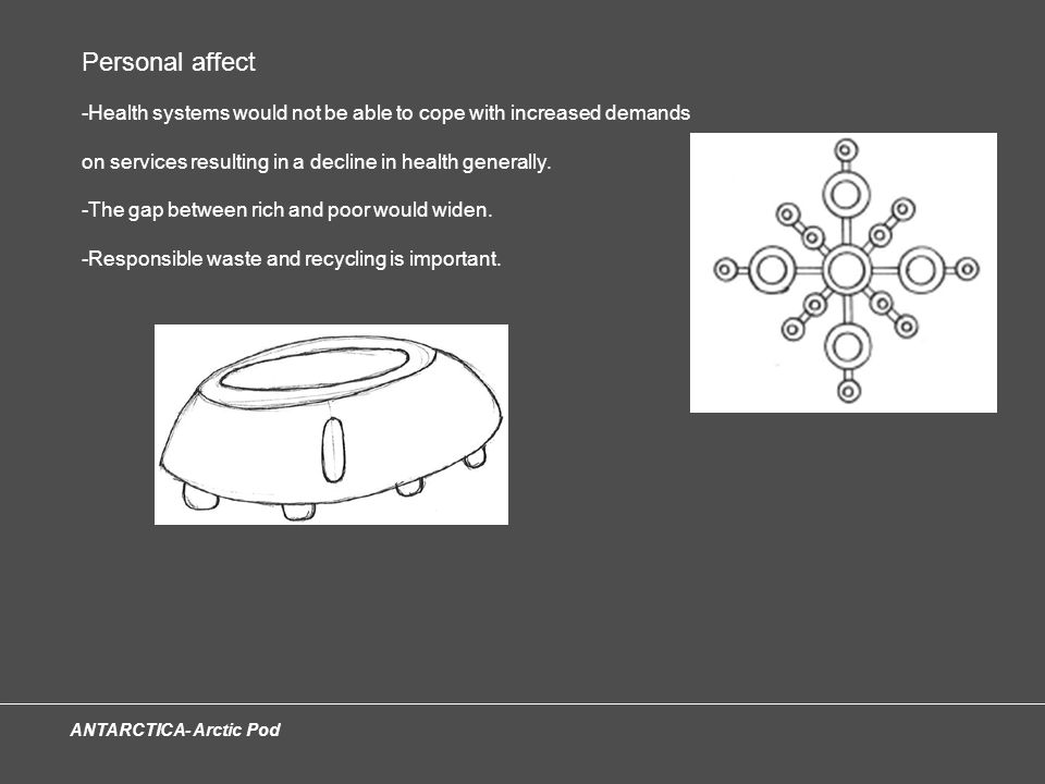 ANTARCTICA- Arctic Pod Personal affect -Health systems would not be able to cope with increased demands on services resulting in a decline in health generally.