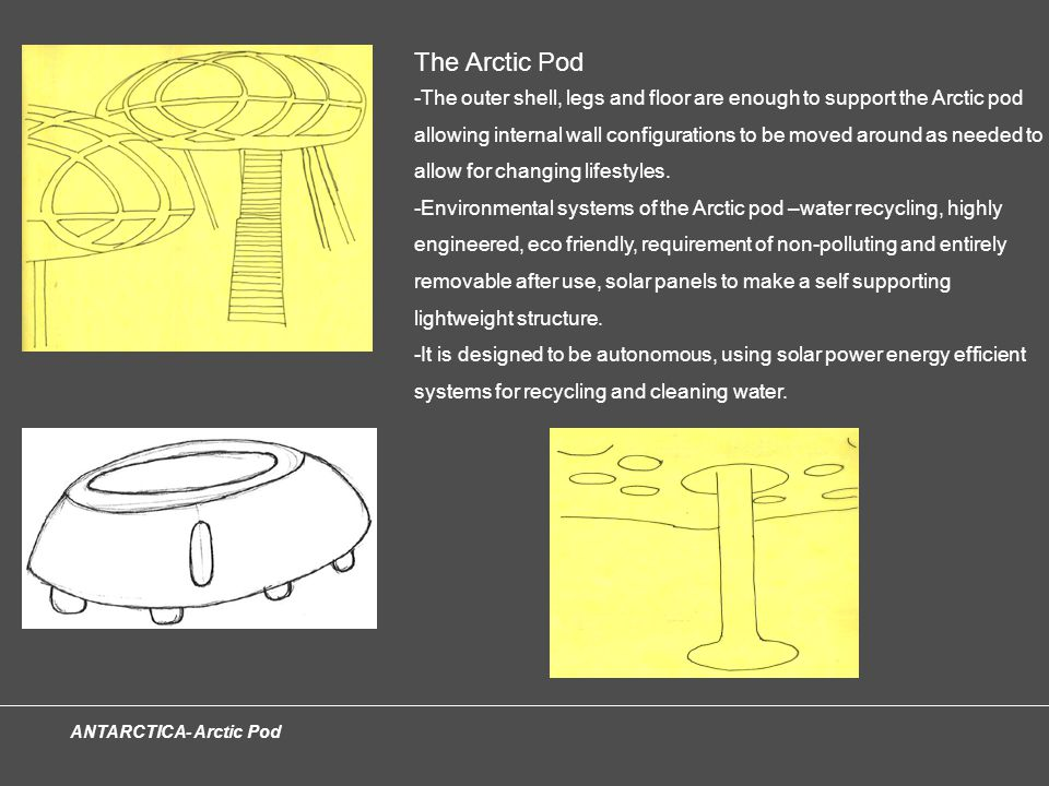 ANTARCTICA- Arctic Pod The Arctic Pod -The outer shell, legs and floor are enough to support the Arctic pod allowing internal wall configurations to be moved around as needed to allow for changing lifestyles.