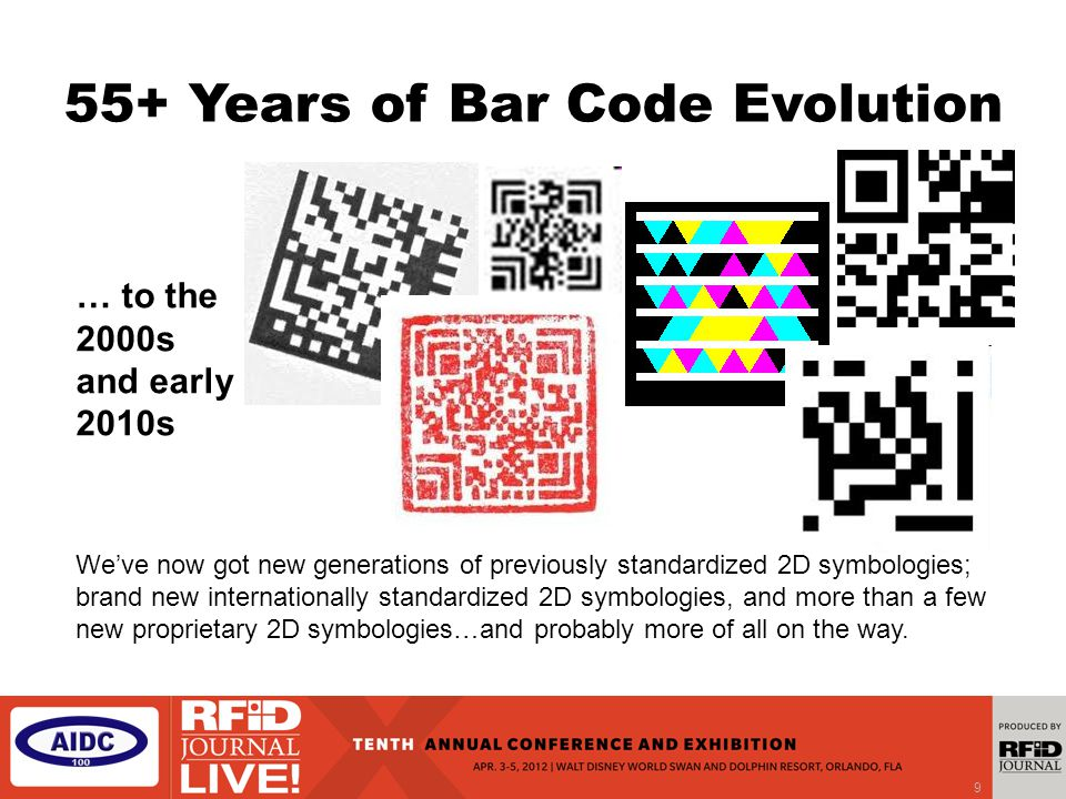 9 55+ Years of Bar Code Evolution We've now got new generations of previously standardized 2D symbologies; brand new internationally standardized 2D symbologies, and more than a few new proprietary 2D symbologies…and probably more of all on the way.