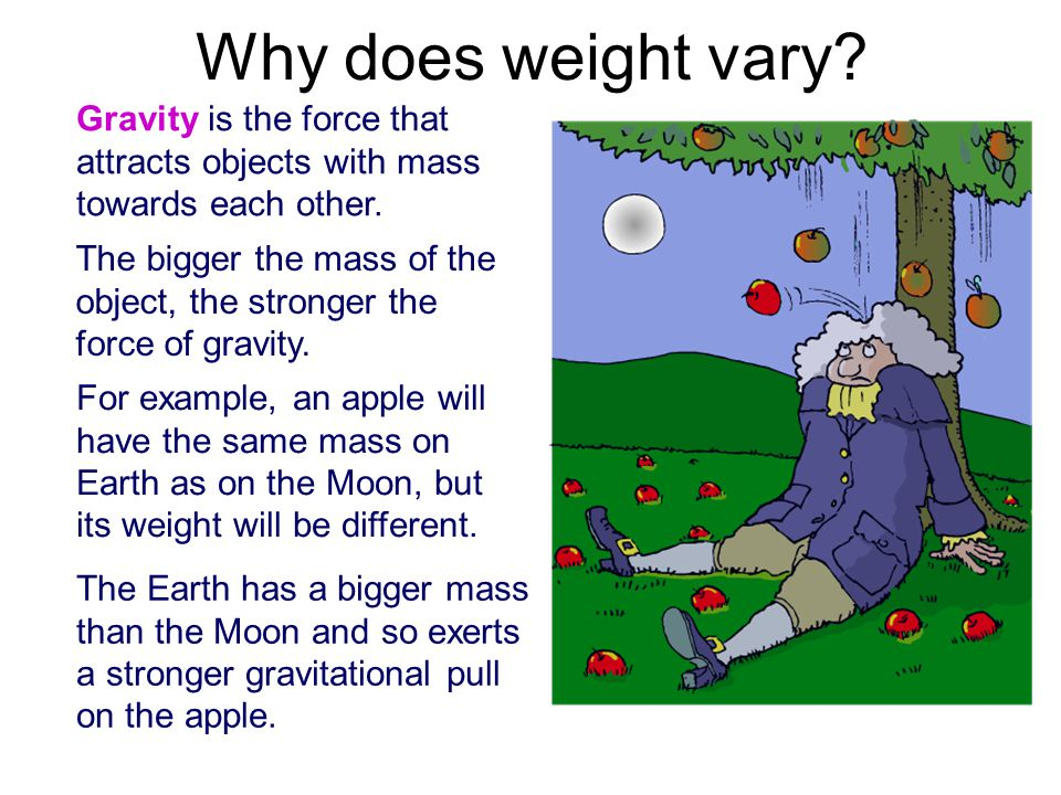 Why does weight vary. Gravity is the force that attracts objects with mass towards each other.