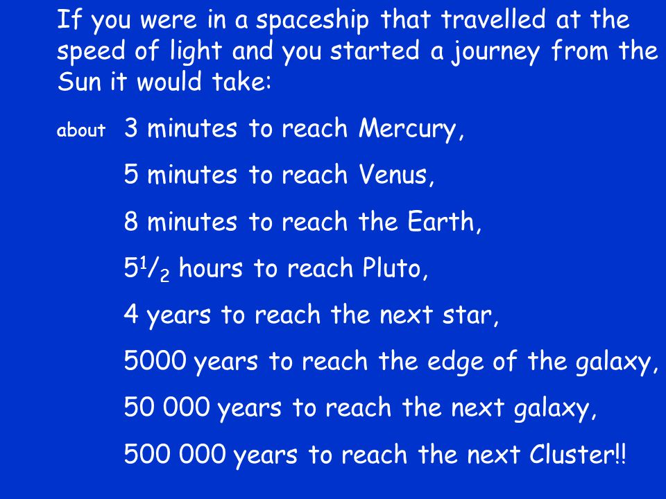 If you were in a spaceship that travelled at the speed of light and you started a journey from the Sun it would take: about 3 minutes to reach Mercury