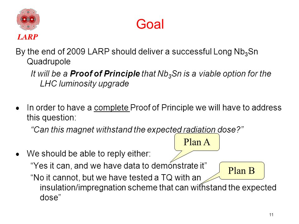 11 Goal By the end of 2009 LARP should deliver a successful Long Nb 3 Sn Quadrupole It will be a Proof of Principle that Nb 3 Sn is a viable option for the LHC luminosity upgrade  In order to have a complete Proof of Principle we will have to address this question: Can this magnet withstand the expected radiation dose  We should be able to reply either: Yes it can, and we have data to demonstrate it No it cannot, but we have tested a TQ with an insulation/impregnation scheme that can withstand the expected dose Plan A Plan B
