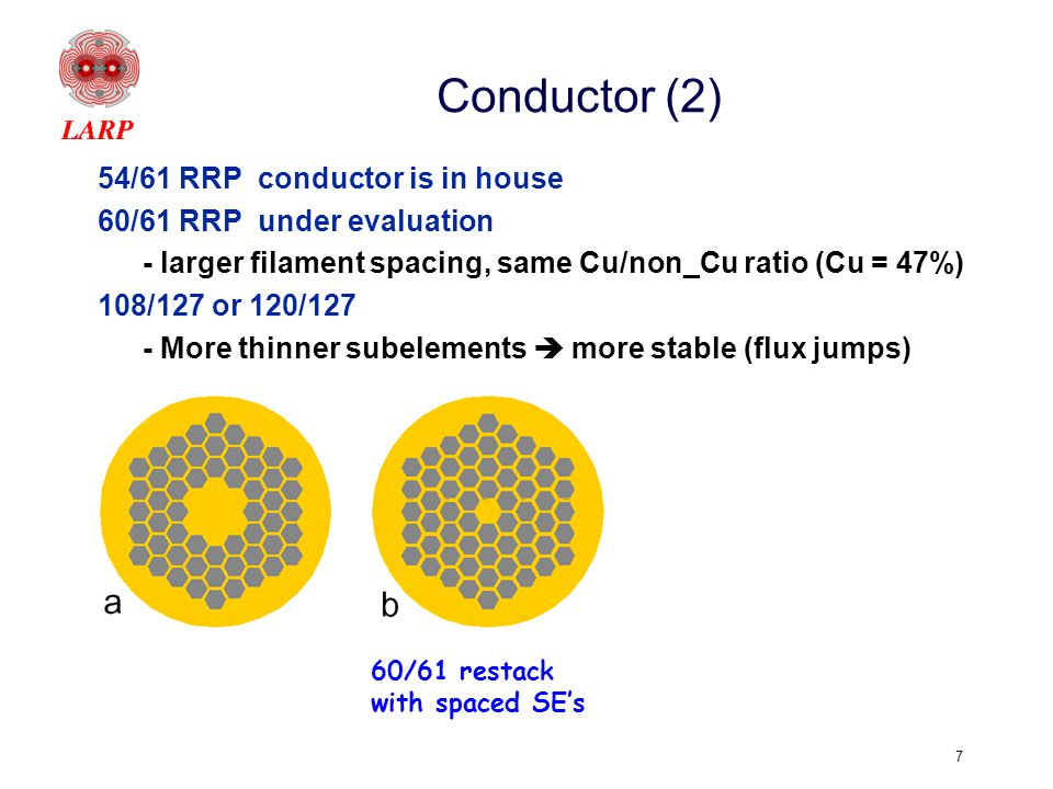 7 Conductor (2) 54/61 RRP conductor is in house 60/61 RRP under evaluation - larger filament spacing, same Cu/non_Cu ratio (Cu = 47%) 108/127 or 120/127 - More thinner subelements  more stable (flux jumps) 1.