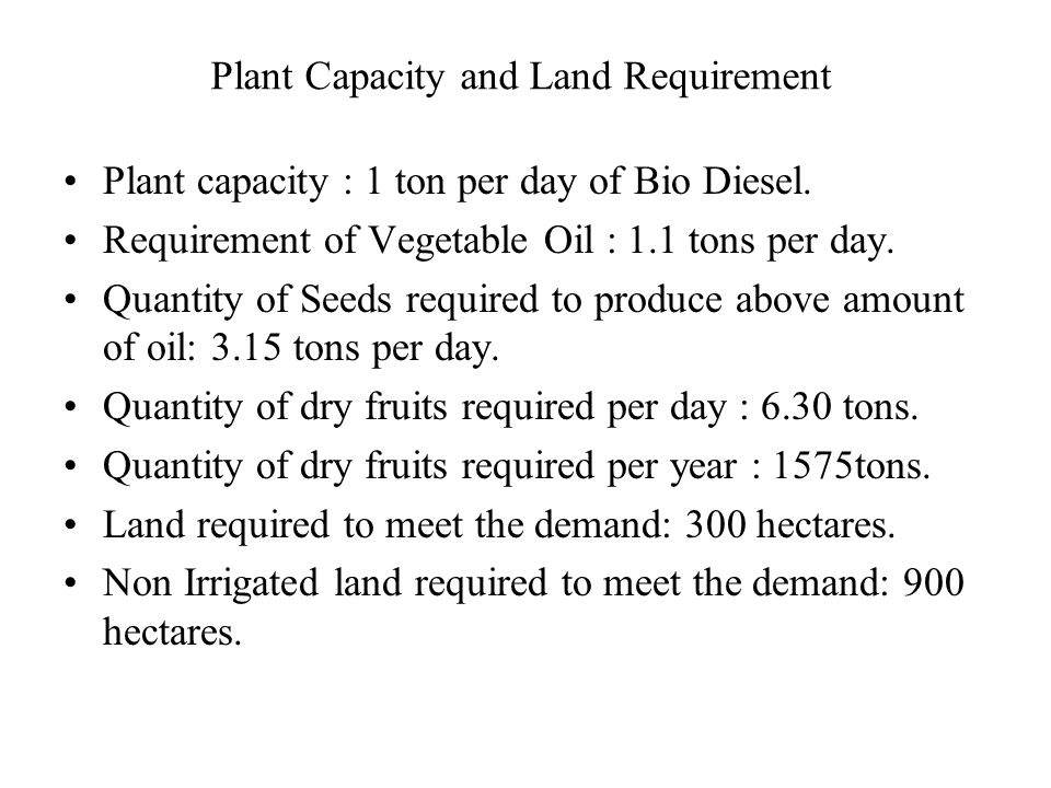 Plant Capacity and Land Requirement Plant capacity : 1 ton per day of Bio Diesel.