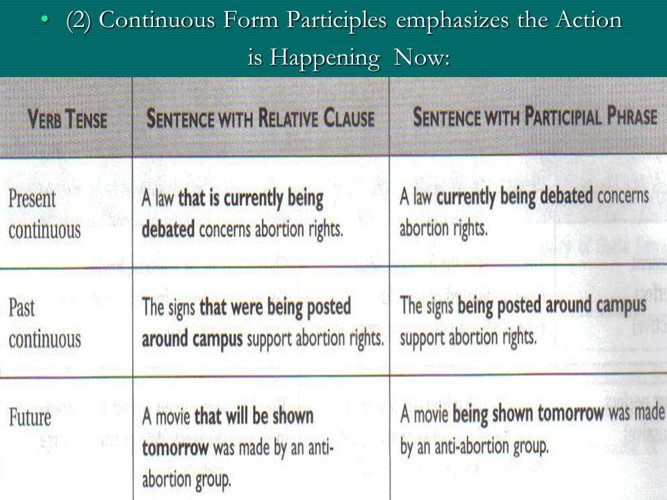 (2) Continuous Form Participles emphasizes the Action(2) Continuous Form Participles emphasizes the Action is Happening Now: is Happening Now:
