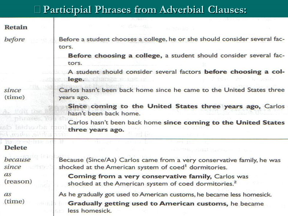 ※ Participial Phrases from Adverbial Clauses: