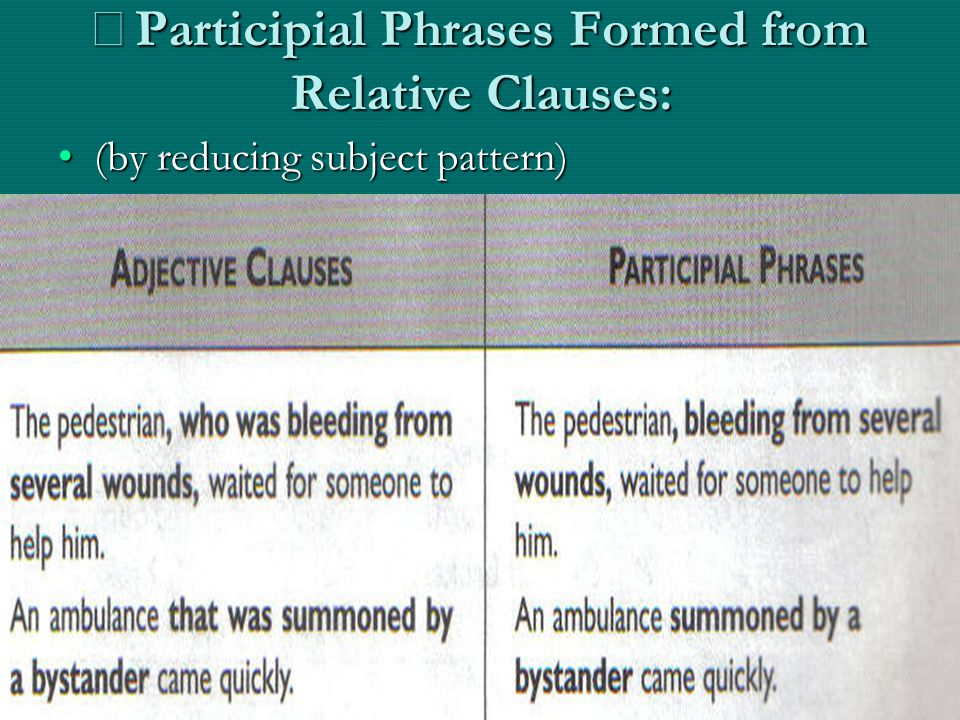 ※ Participial Phrases Formed from Relative Clauses: (by reducing subject pattern)(by reducing subject pattern)