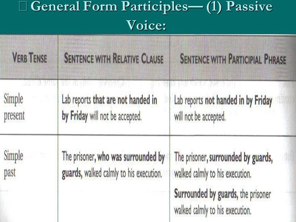 ※ General Form Participles — (1) Passive Voice: