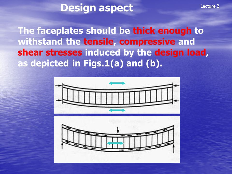 Lecture 2 Design aspect The faceplates should be thick enough to withstand the tensile, compressive and shear stresses induced by the design load, as