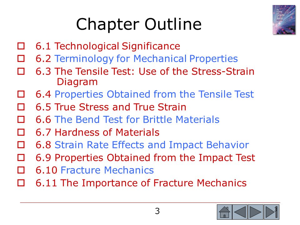 4 4  6.12 Microstructural Features of Fracture in Metallic Materials  6.13 Microstructural Features of Fracture in Ceramics, Glasses, and Composites  6.14 Weibull Statistics for Failure Strength Analysis  6.15 Fatigue  6.16 Results of the Fatigue Test  6.17 Application of Fatigue Testing  6.18 Creep, Stress Rupture, and Stress Corrosion  6.19 Evaluation of Creep Behavior  6.20 Use of Creep Data  6.21 Superplasticity Chapter Outline(Continued)